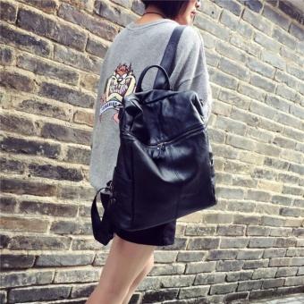 Fashion Backpacks PU leather handbag Korean fashion leisure travel female backpack can handbag Forteenagers Ladies Girl Back Pack Bagpack Mochila (black) - intl - 4