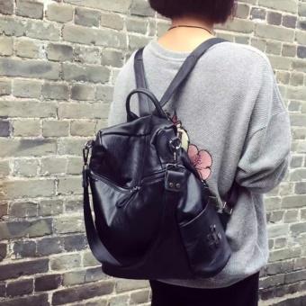 Fashion Backpacks PU leather handbag Korean fashion leisure travel female backpack can handbag Forteenagers Ladies Girl Back Pack Bagpack Mochila (black) - intl - 3