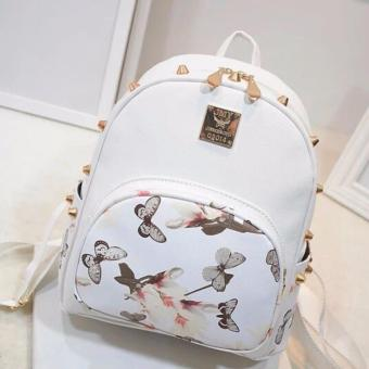 Fashion bags butterfly for girls Korean Mini Bagpack (Black withwhite) with butterfly design leather