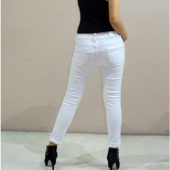 Fashion Balaynor White Tattered Skinny Jeans - 5
