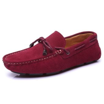 Fashion Bow-knot Lace-Ups Leather Loafers - Red wine