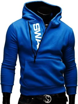 Fashion Brand Hoodies Men Sweatshirt Male Zipper Hooded Jacket Casual Sportswear Moleton Masculino Assassins Creed Outwear (Black&Blue) - intl - 2