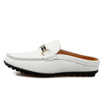 Fashion Breathable Leather Flip-Flops Loafers (White) - picture 2