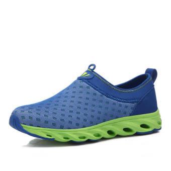 Fashion Breathable Mesh Men Low Cut Sneakers-Blue