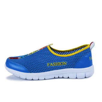 Fashion Breathable Mesh Sport Men Low Cut Sneakers-Blue - picture 2