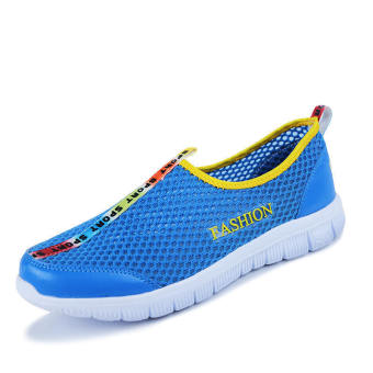 Fashion Breathable Mesh Sport Men Low Cut Sneakers-Blue
