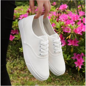 Fashion Canvas White Sneakers For Women - 5