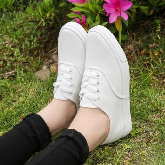 Fashion Canvas White Sneakers For Women - 4