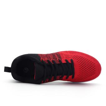Fashion Casual Men Lace Up Running Sneakers Shoes (Red) - intl - 5