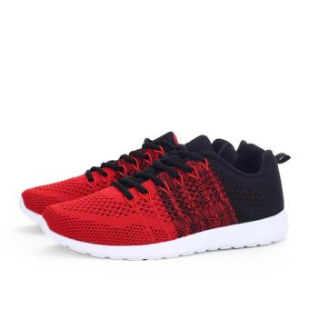 Fashion Casual Men Lace Up Running Sneakers Shoes (Red) - intl
