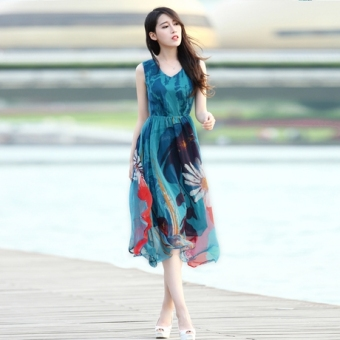 Fashion chiffon beach summer one-piece dress bohemian dress skirt