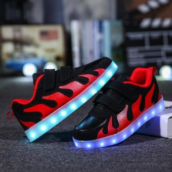 Fashion Children LED Shoes Kids Sneakers Fashion USB ChargingLuminous Boy Girl Sports Casual Shoes (EU SIZE 28-40/ Black andRed) - intl