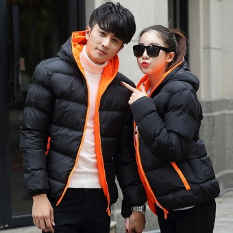 Fashion Couple Winter Warm Hooded Light Weight cotton-Jacket Coat -intl