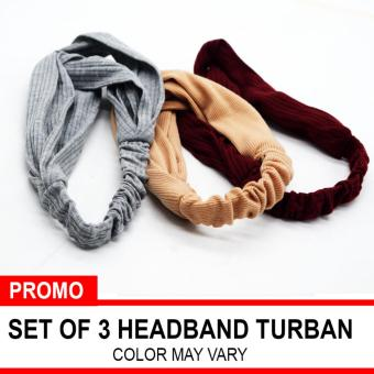 Fashion Elastic Turban Headband Set of 3 (Color May Vary) Price Philippines