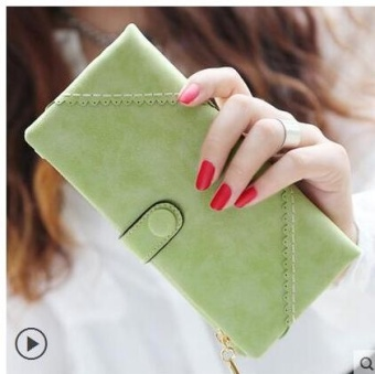 Fashion Female Long Wallet Retro Matte Stitching Wallet Women LongPurse Clutch Women Casual Hasp Dollar Price Wallet Handbag Green -intl