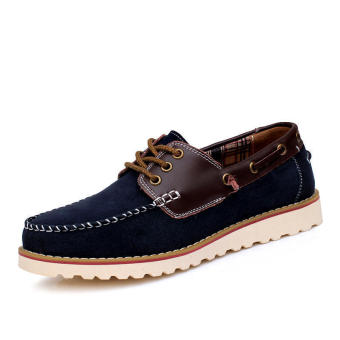 Fashion Flat Brogues Lace-Ups Shoes-Dark blue
