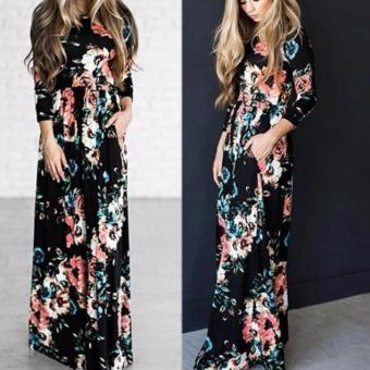 Fashion Floral Print Summer Dress European Women Long Sleeve Dress - intl