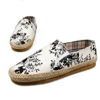 Fashion Flowers Canvas Shoes- White