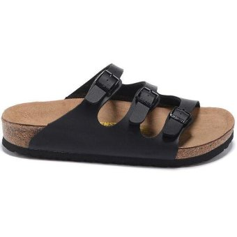 Fashion For Birkenstock Florida Birko-Flor Flat Slippers Women(Black) - intl