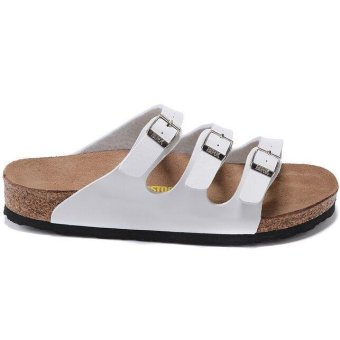 Fashion For Birkenstock Florida Birko-Flor Flat Slippers Women(White) - intl