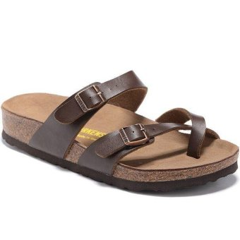 Fashion For Birkenstock Mayari Birko-Flor Flat Sandals Women(Brown) - intl