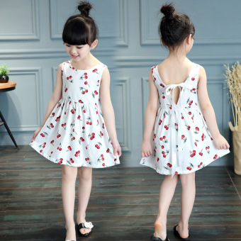 Fashion Girls Sweet Cotton Princess Dresses Cherry Flowers Dresses -White