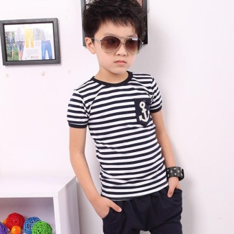 Fashion Kids Clothes Set Boys Navy Striped T-shirt and Pants Suits Summer Children Clothing - Navy blue - intl - 3