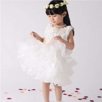 Fashion Kids Clothing Sequin Elegant Flower Girls Party Princess Wedding Tutu Layer Dress - intl - 3