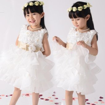 Fashion Kids Clothing Sequin Elegant Flower Girls Party Princess Wedding Tutu Layer Dress - intl - 2