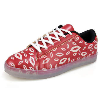 Fashion Laced-ups Flat Shoes-Red