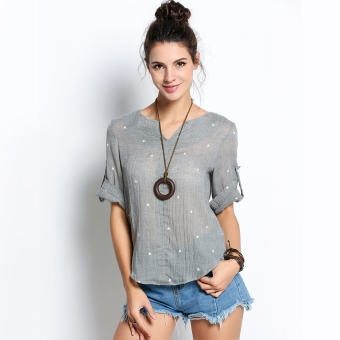 Fashion Ladies Women Casual V-Neck Medium Sleeve Print Loose BeachTops Blouse