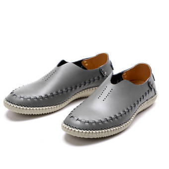 Fashion Leather Casual Loafers - Grey - picture 2
