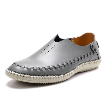 Fashion Leather Casual Loafers - Grey