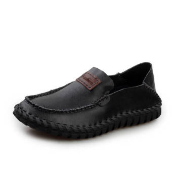 Fashion Leather Flat Loafers -Black