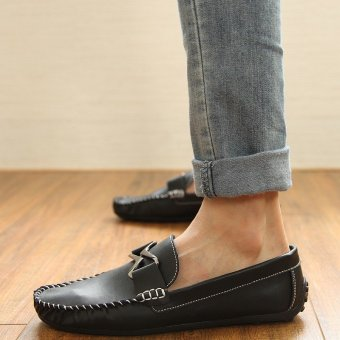 Fashion Leather Flat Loafers-Black - picture 2
