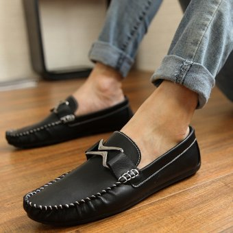 Fashion Leather Flat Loafers-Black - picture 3