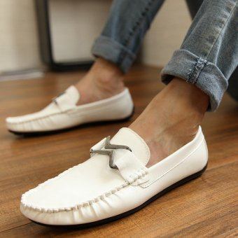 Fashion Leather Flat Loafers-White - picture 3
