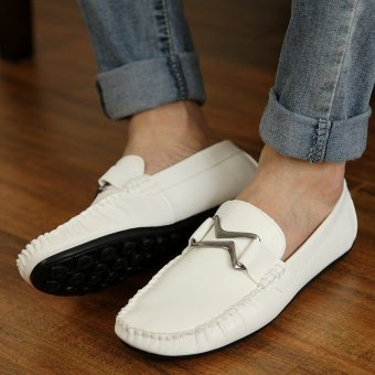 Fashion Leather Flat Loafers-White - picture 4