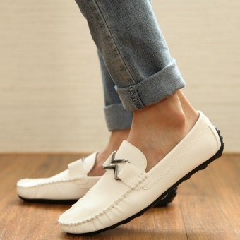 Fashion Leather Flat Loafers-White