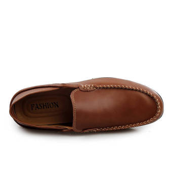 Fashion Leather Round Flat Loafers Dark Brown - picture 3
