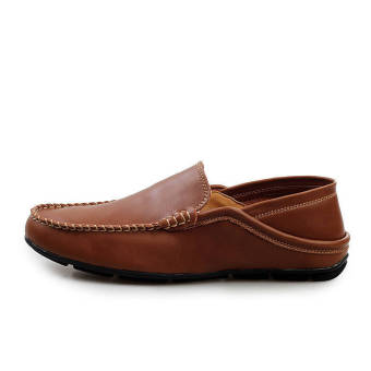 Fashion Leather Round Flat Loafers Dark Brown - picture 2
