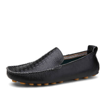 Fashion Leather Round Loafers - Black
