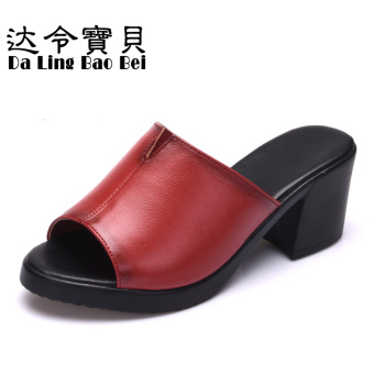 Fashion leather semi-high heeled waterproof platform women's shoes leather sandals (Red)