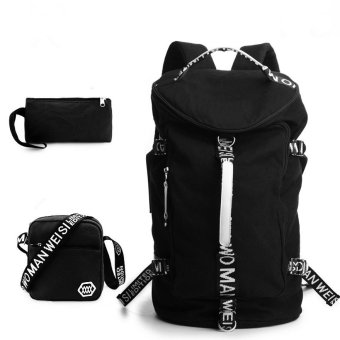 Fashion Leisure Large Capacity Backpack New Korean Men Student Back Pack Canvas Bag (Big Size / Black)