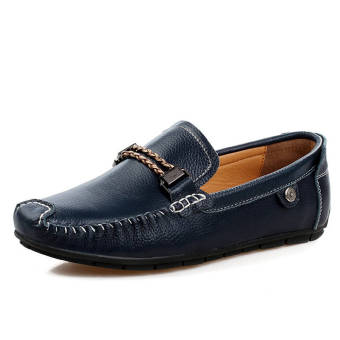 Fashion Leisure Leather Loafers (Dark Blue)