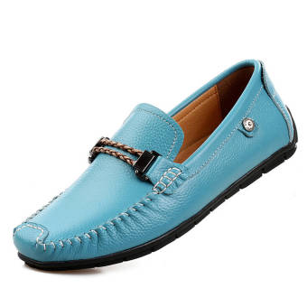 Fashion Leisure Leather Loafers (Light Blue) - picture 2