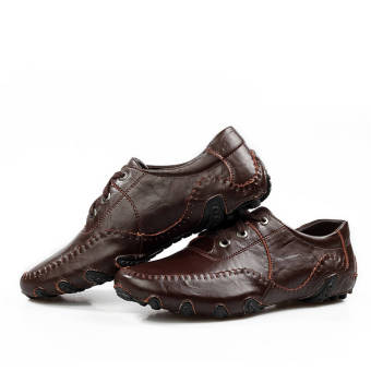 Fashion Leisure Leather Shoes (Dark Brown) - picture 2