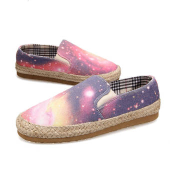 Fashion Lips Canvas Flat Shoes-Dark Blue
