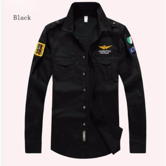 Fashion Men Air Force Flight Suit Casual Style Long-Sleeve Casual Shirts - intl