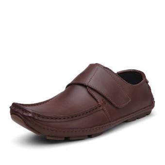 Fashion Men Flat Loafers - Dark Brown